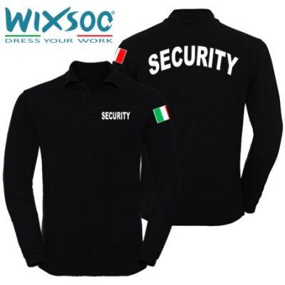 Wixsoo-Polo-Security-Maniche-Lunghe-Bandiera-Cuore-Stampa-Curva-Fronte-Retro