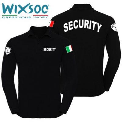 Wixsoo-Polo-Security-Maniche-Lunghe-Cuore-Pantera-Bandiera-Stampa-Curva-Fronte-Retro