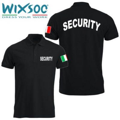 Wixsoo-Polo-Security-Mezze-Maniche-Bandiera-Cuore-Stampa-Curva-Fronte-Retro