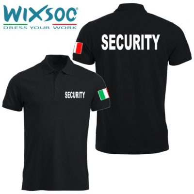Wixsoo-Polo-Security-Mezze-Maniche-Bandiera-Cuore-Stampa-Fronte-Retro