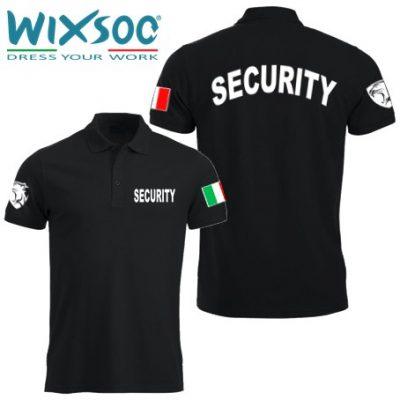 Wixsoo-Polo-Security-Mezze-Maniche-Cuore-Pantera-Bandiera-Stampa-Curva-Fronte-Retro