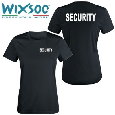 Wixsoo-T-Shirt-Security-Linea-Donna-Nera-Cuore-Stampa-Fronte-Retro